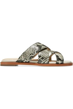 Cole Haan Women's Winona Snakeskin-Print Leather Slide Sandals - Grey Print - Size 7