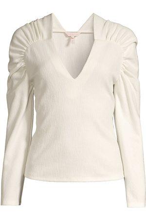 REBECCA TAYLOR Women's Ruched-Sleeve Blouse - Milk - Size Medium