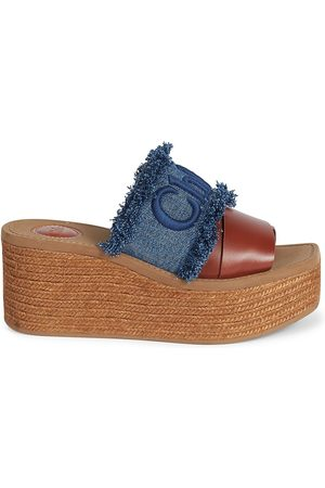 Chloé Women's Woody Denim & Leather Espadrille Platform Wedge Mules - Deep Denim - Size 7