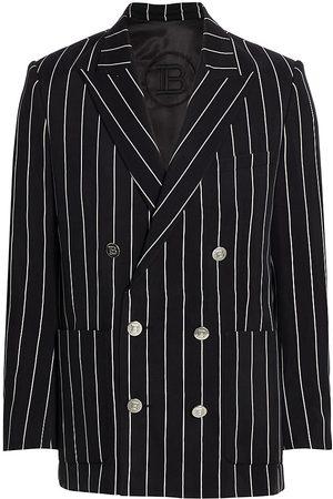 Balmain Men's X Maluma Striped Double-Breasted Blazer - Noir Blanc - Size 38