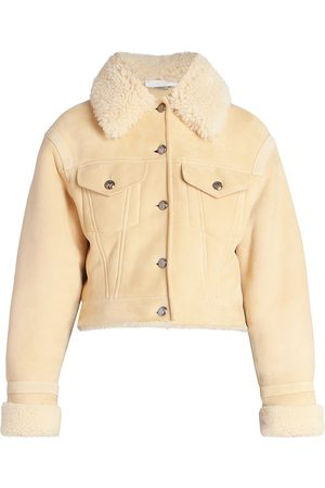 Chloé Women Leather Jackets - Women's Suede Merino Shearling Jacket - Sandy - Size 4