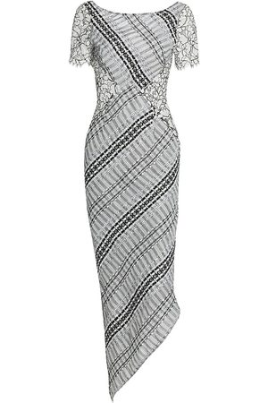 Frederick Anderson Women's Lace-Trimmed Ribbon Tweed Midi Dress - - Size 6