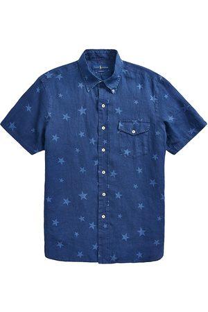 Polo Ralph Lauren Men Polo Shirts - Men's Classic-Fit Star-Print Linen Sport Shirt - Americana Stars - Size XS