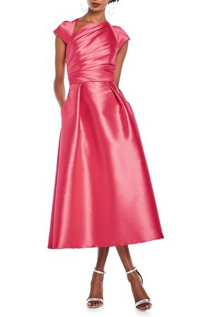 THEIA Women's Ruche Faille Satin A-Line Dress - Magenta - Size 16