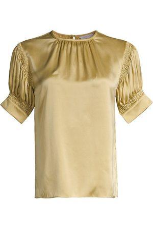 REBECCA TAYLOR Women Blouses - Women's Puff-Sleeve Silk Charmeuse Blouse - Anise - Size Medium