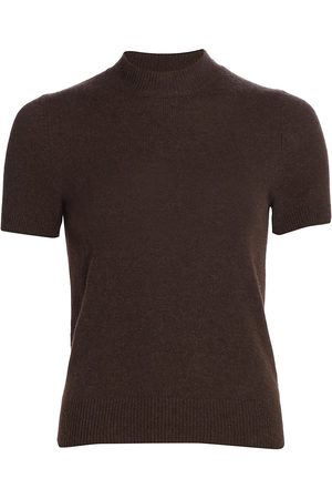 The Row Women's Carbo Short-Sleeve Cashmere Sweater - Dark - Size Small