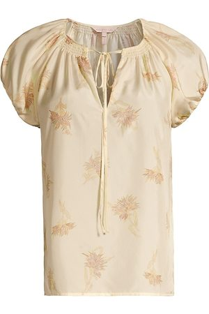 REBECCA TAYLOR Women Short sleeves - Women's Nora Short-Sleeve Silk Blouse - Sunset Combo - Size XS