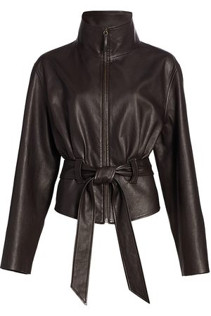The Row Women's Ramira Belted Leather Jacket - Dark - Size 10