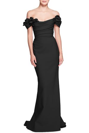 Marchesa Women's Rouched Floral Off-The-Shoulder Gown - - Size 16