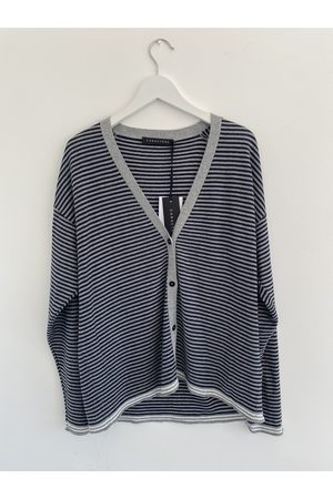 Caractere Caract re Stripe Cardigan In and silver Lurex M730D0078M