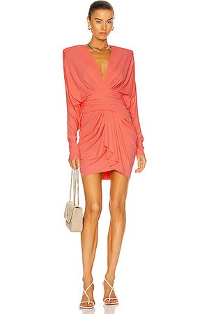 ALEXANDRE VAUTHIER Ruched Mini Dress in Coral