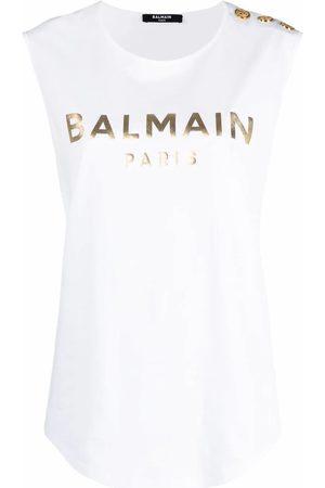 Balmain Women Tank Tops - WOMEN'S VF0EB005B020GAD COTTON TANK TOP