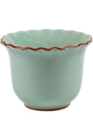 Moda Domus ; Set-Of-Two Small Scalloped Ceramic Planters - Color: /pink - Material: Ceramic - Moda Operandi