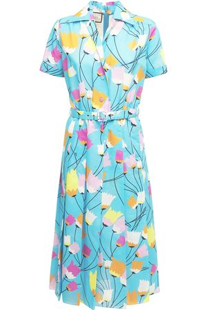 Gucci Women Printed Dresses - Printed Cotton & Linen Dress