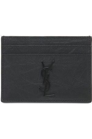 Saint Laurent Men Wallets - Embossed Leather Card Holder