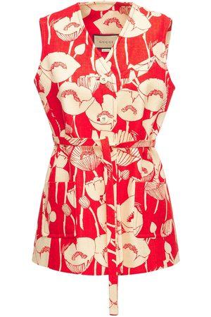 Gucci Poppy Print Silk Vest
