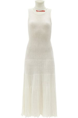 Thebe Magugu Women Midi Dresses - Detachable-collar Ribbed Wool-blend Midi Dress - Womens