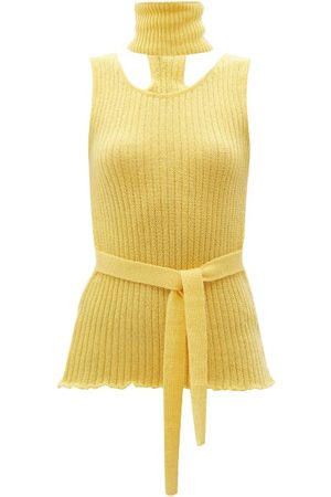 Thebe Magugu Women Tops - Detachable-collar Ribbed Wool-blend Top - Womens