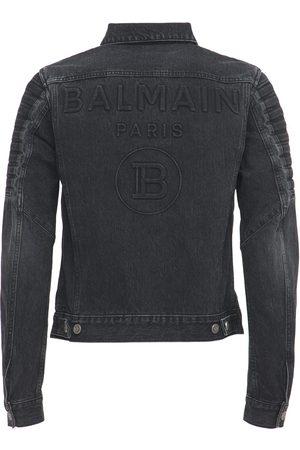 Balmain Logo Embossed Distressed Denim Jacket