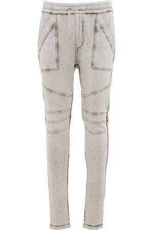 Balmain Men Sweatpants - Logo Embossed Washed Jersey Sweatpants