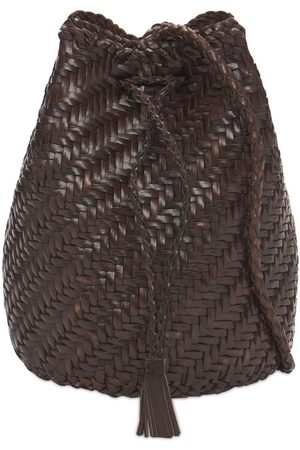DRAGON DIFFUSION Pompom Doublej Woven Leather Basket Bag