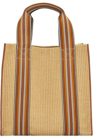 Loro Piana The Suitcase Woven Tote Bag W/ Leather