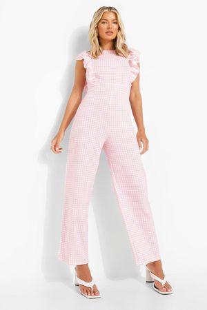 Boohoo Womens Gingham Frill Sleeve Culotte Jumpsuit - - 4