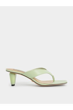 CHARLES & KEITH Leather Sculptural Heel Thong Sandals