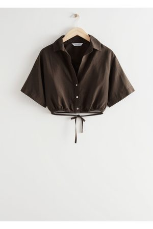 & OTHER STORIES Buttoned Tie Detail Crop Top