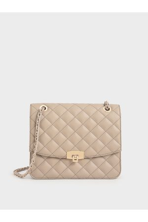 CHARLES & KEITH Quilted Chain Strap Clutch