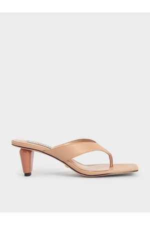 CHARLES & KEITH Women Heeled Sandals - Leather Sculptural Heel Thong Sandals