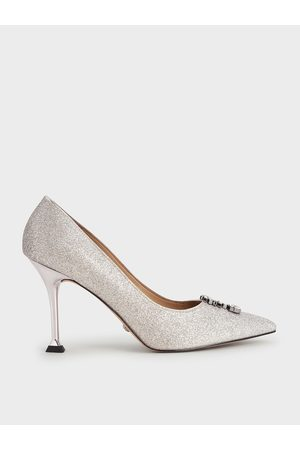 CHARLES & KEITH Women High Heels - Glitter Gem-Embellished Pumps
