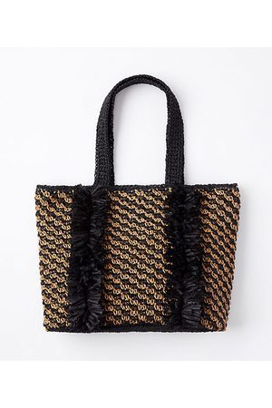 LOFT Fringed Straw Tote Bag