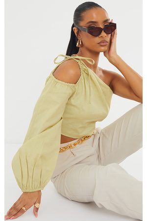 PRETTYLITTLETHING Sage Khaki Linen Look Ruched One Shoulder Cut Out Crop Top