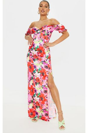 PRETTYLITTLETHING Multi Floral Satin Wrap Bardot Maxi Dress