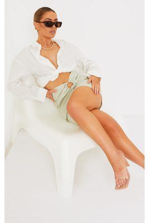 PRETTYLITTLETHING Sage Woven Ring Detail Mini Skirt