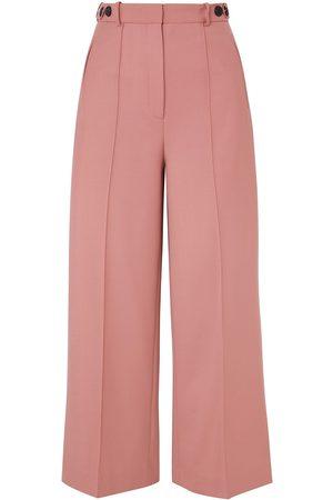 Rokh Woman Cropped Twill Wide-leg Pants Blush Size 34