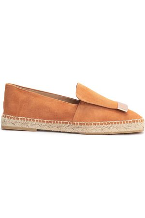 Sergio Rossi Woman Embellished Suede Espadrilles Camel Size 39