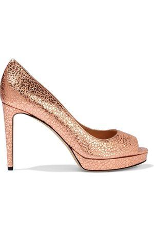 Sergio Rossi Woman Sr Gydda Metallic Snake-effect Leather Platform Pumps Rose Size 39