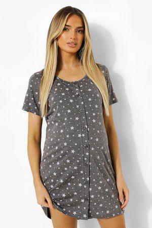 Boohoo Womens Maternity Button Front Star Nightie - - 4