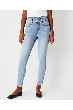 ANN TAYLOR Tall Sculpting Pocket High Rise Skinny Jeans in Authentic Light Indigo Wash