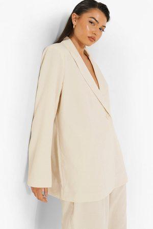 Boohoo Women Blazers - Womens Linen Look Oversizer Blazer - - 4