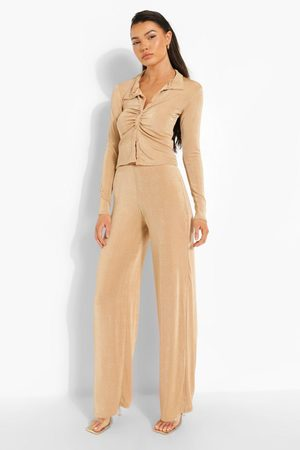 Boohoo Womens Textured Slinky Blouse & Wide Leg Trouser - - 4