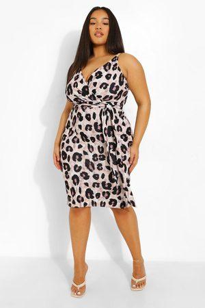Boohoo Womens Plus Occasion Leopard Wrap Midi Dress - - 12