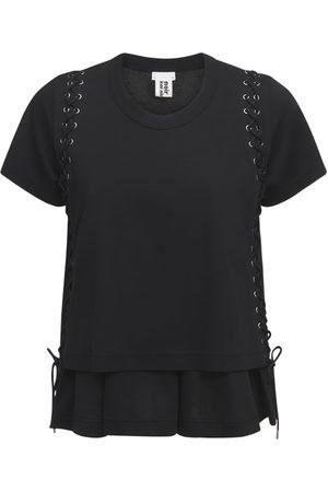 NOIR KEI NINOMIYA Women T-shirts - Cotton Jersey T-shirt W/ Lace-up Details