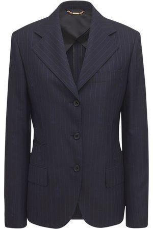VERSACE Women Blazers - Pinstripe Wool Jacquard Blazer