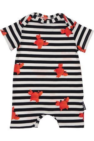 Snurk Girls Playsuits - Striped Crab Print Organic Cotton Romper