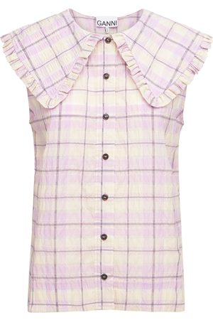 Ganni Sleeveless Check Seersucker Shirt