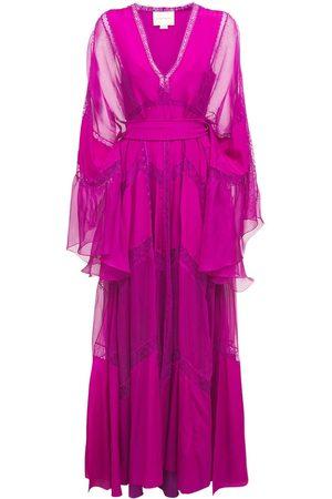 Zuhair Murad Women Beach Dresses - Crepe De Chine & Lace Caftan Dress