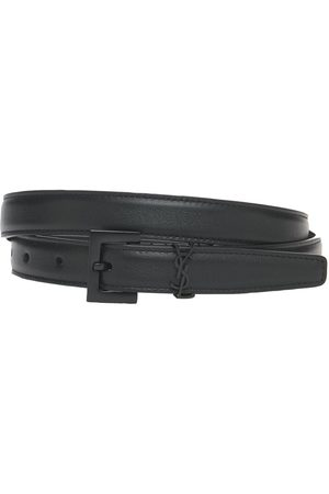 Saint Laurent 2cm Monogram Narrow Leather Belt